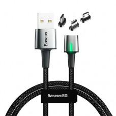 Baseus Zinc Magnetic Cable Kit (iP+Type-C+Micro) 1m Black